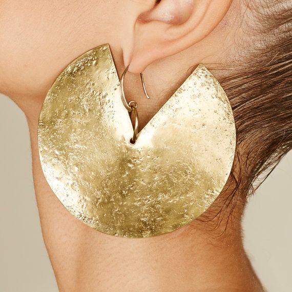 Brass Earrings Boho Jewelry Geometric Earrings Hoop Earrings Gold Hoops Statement Earrings