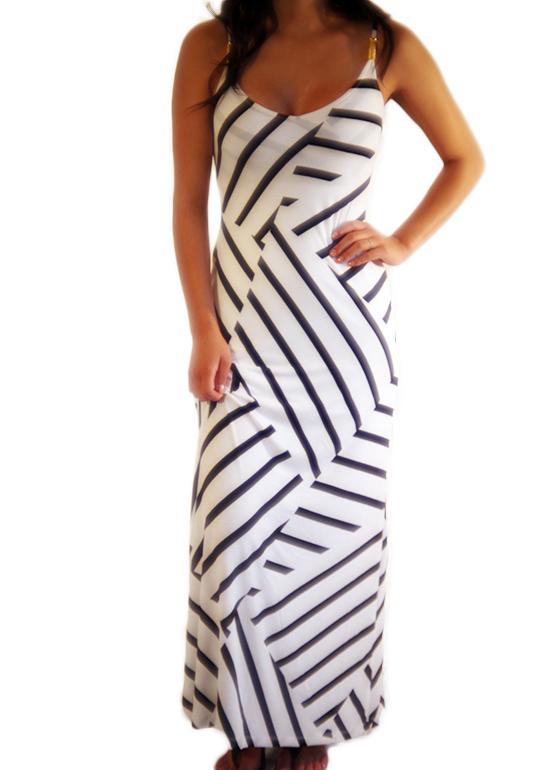 White & Black Maxi Dress