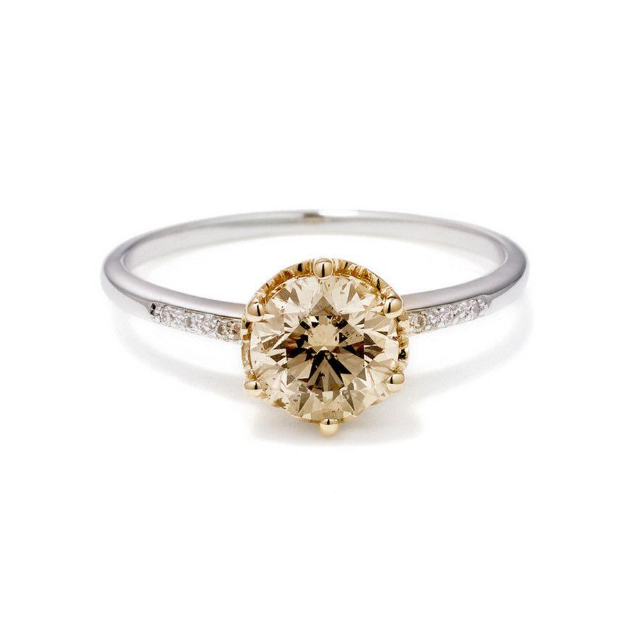 Hazeline Champagne Diamond Engagement Ring .75ct unique mixed gold 14k – Anna Sheffield