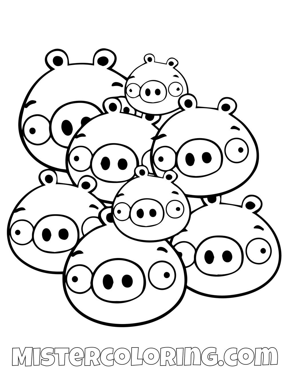 A Group Of Pigs Angry Birds Coloring Pages Bird Coloring Pages Tinkerbell Coloring Pages Cartoon Coloring Pages