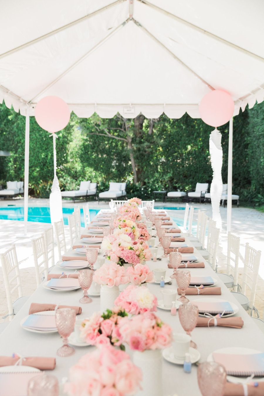 A Blushing Pantone Themed Bridal Shower Backyard Bridal Showers