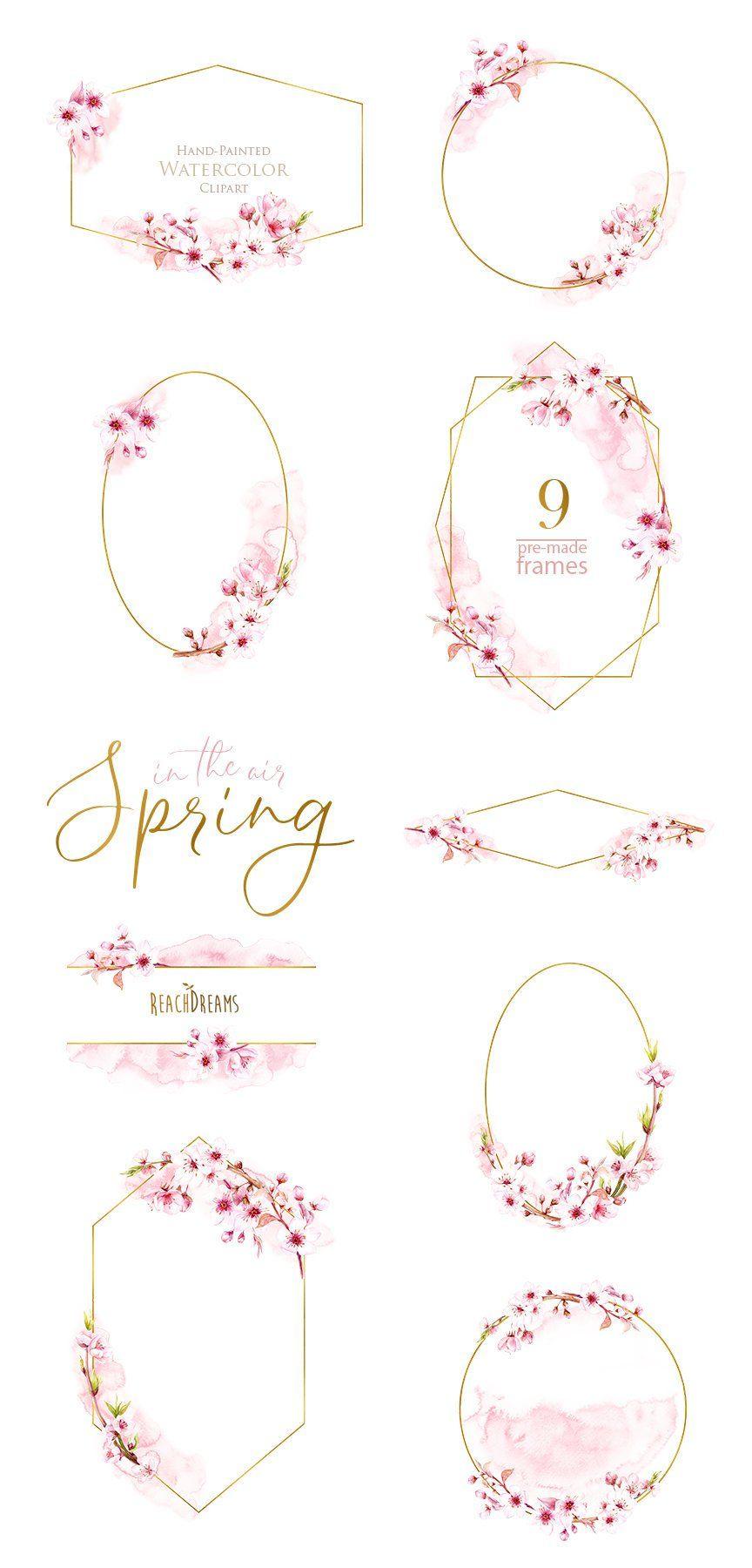 Watercolor Frames Floral Sakura Pre-made clipart blossom   Etsy ...