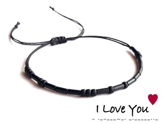 I Love You Morse Code Bracelet I Love U Bracelet Black Love Etsy In 2020 Valentines Gifts For Boyfriend Boyfriend Gifts Morse Code Bracelet