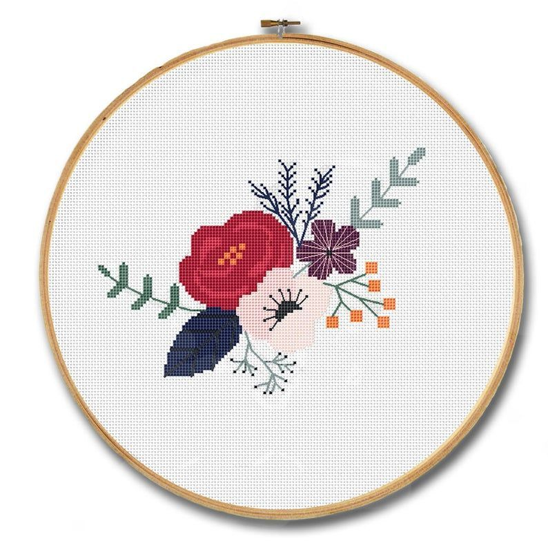 Flowers cross stitch pattern, Modern cross stitch, Floral embroidery pattern, Flowers wall decor, Flower