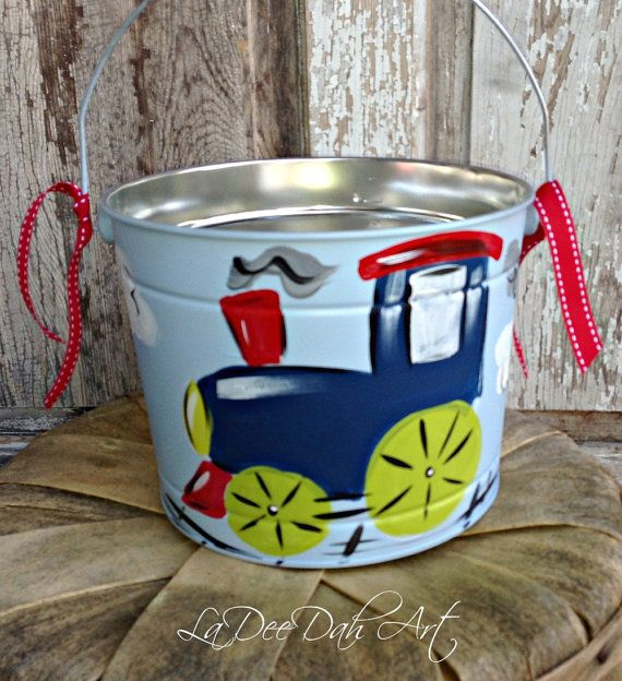 Boys, Custom, Hand Painted, Personalized Easter Bucket, Pail ...