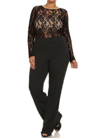 Plus Size Jumpsuit Lace Bodice In Black Products Pinterest