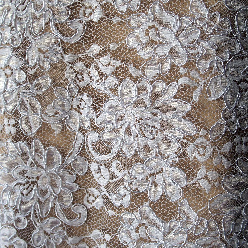 White corded alencon bridal lace fabric floral scallop edging white corded alencon bridal lace fabric floral scallop edging ombrellifo Image collections