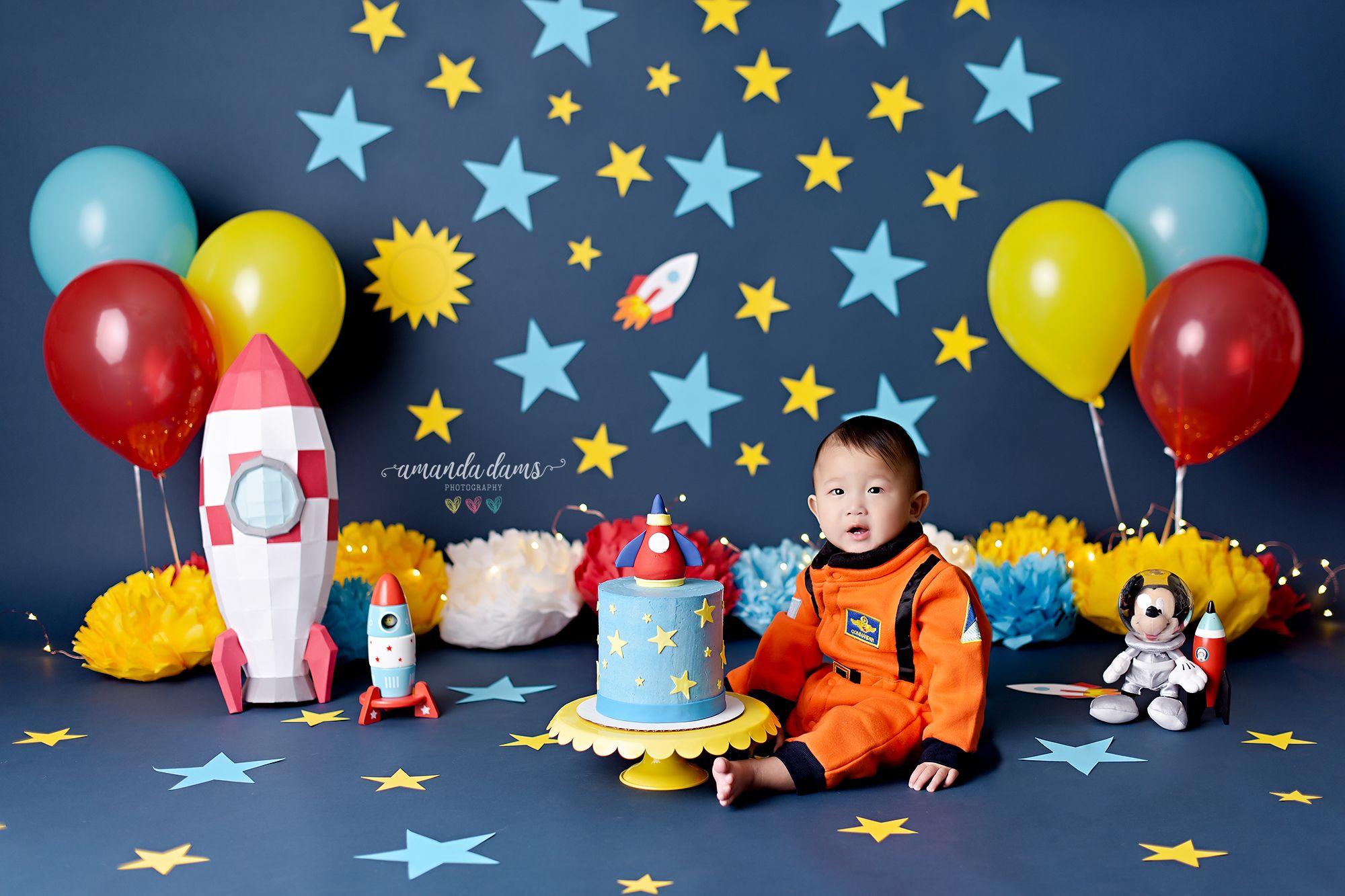 Outer Space Astronaut Cake Smash Inspiration Ideas
