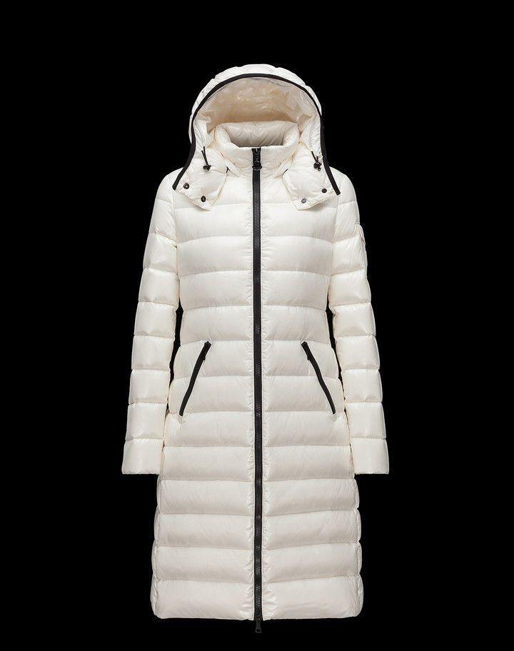 MONCLER MOKACINE Women's Long Down Jacket Ivory Size ...