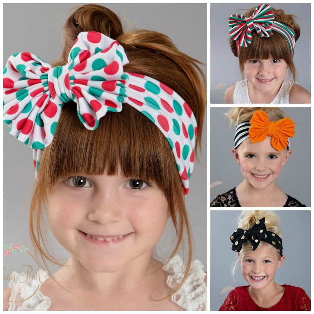 Christmas Baby Headbands, CHOOSE COLOR Girls Head wraps, Messy Bow Baby Head wraps, Jersey Knit Headwraps,Knott Big Bow Baby Headbands