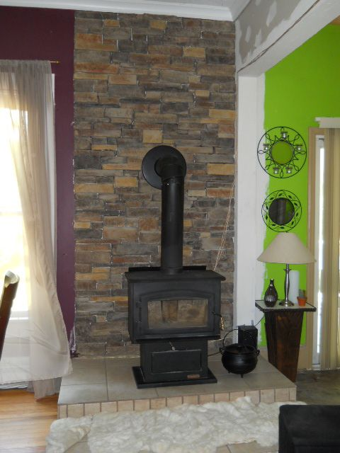 Wood Stove And Stacked Stone For The Home Pinterest