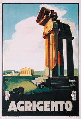 1927 Taormina Sicily Vintage Style Italian Travel Poster 24x36
