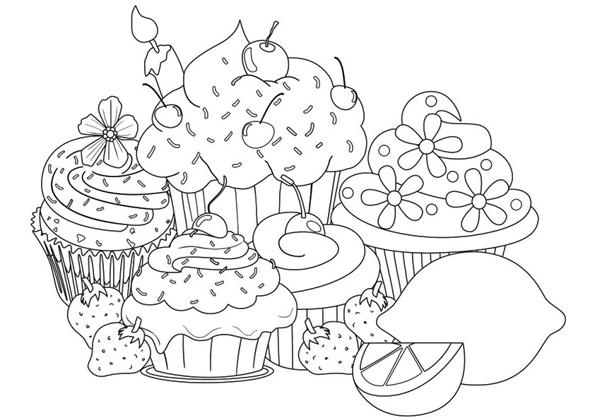 Cake And Cupcake Coloring Sheets For Kids Coloring Pages For Kids On Coloring Fork In 2020 Hello Kitty Colouring Pages Cupcake Coloring Pages Abstract Coloring Pages