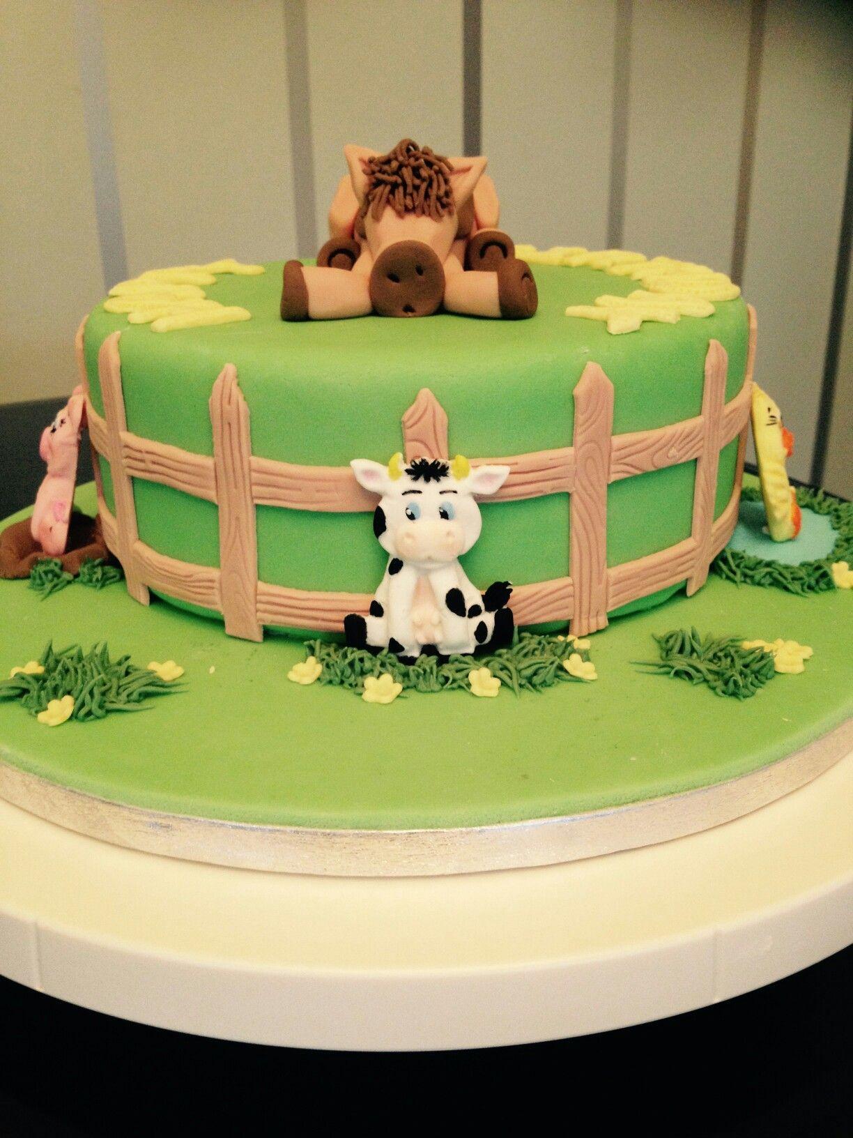 Farm Animal Cake Kids Birthday Cakes Pinterest Farm Animal