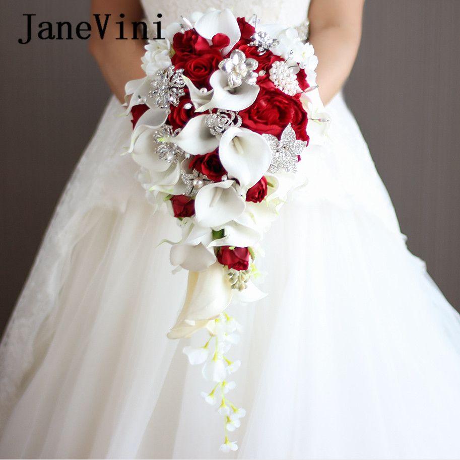 Janevini 2018 Wasserfall Rot Hochzeitsblumen Brautstrausse Kunstliche