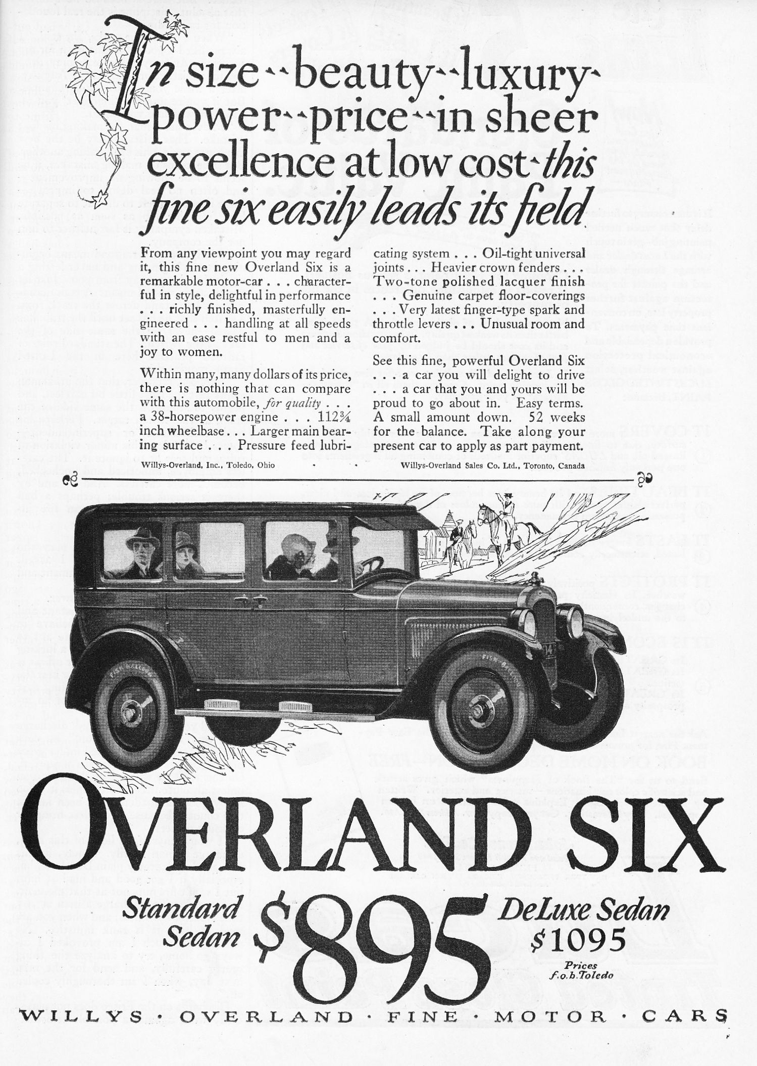1925 Overland Six Willys Overland Fine Motor Cars Willys