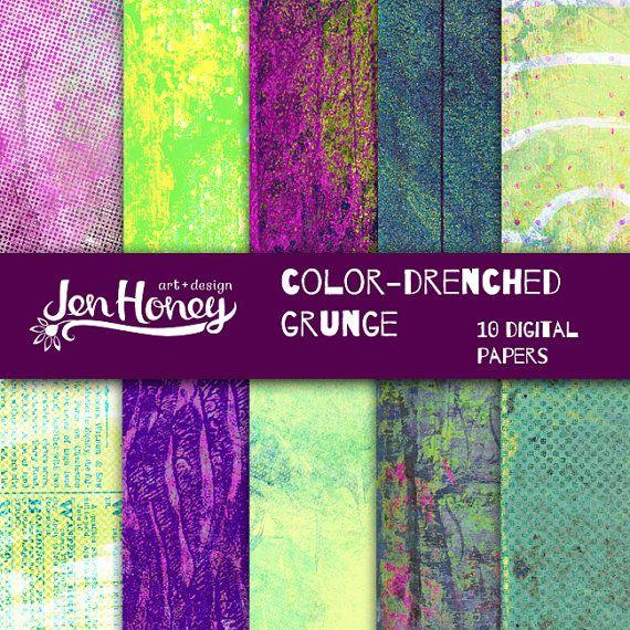 Color Drenched Grunge Digital Paper Pack- great for digital art journal pages