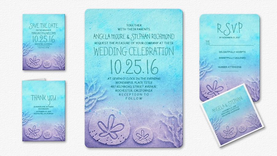 Fresh And Aqua Blue Beach Wedding Invitation With Sand Dollar Sea Corals Beautiful Modern Turquoise Watercolor Background Fancy Whimsical