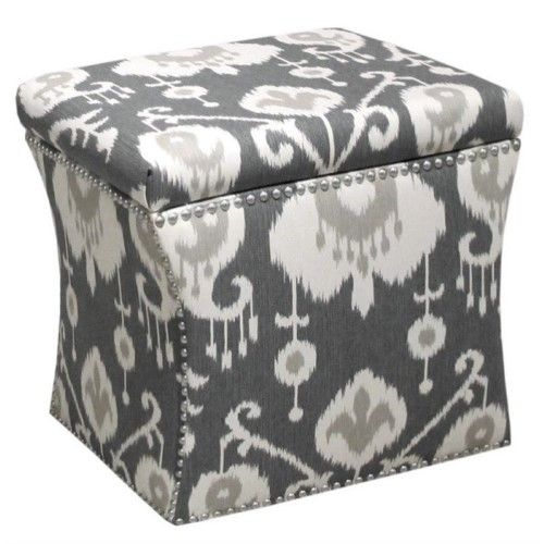 Remarkable Pemberly Row Nail Button Storage Ottoman In Gray And White Short Links Chair Design For Home Short Linksinfo