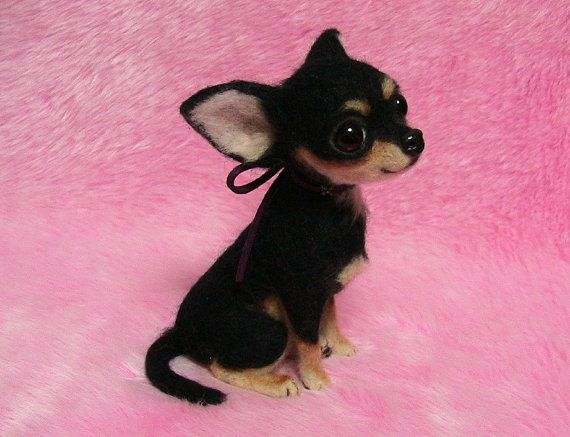 Needle Felted Cute Chihuahua Puppy Black Tan Miniature Needle