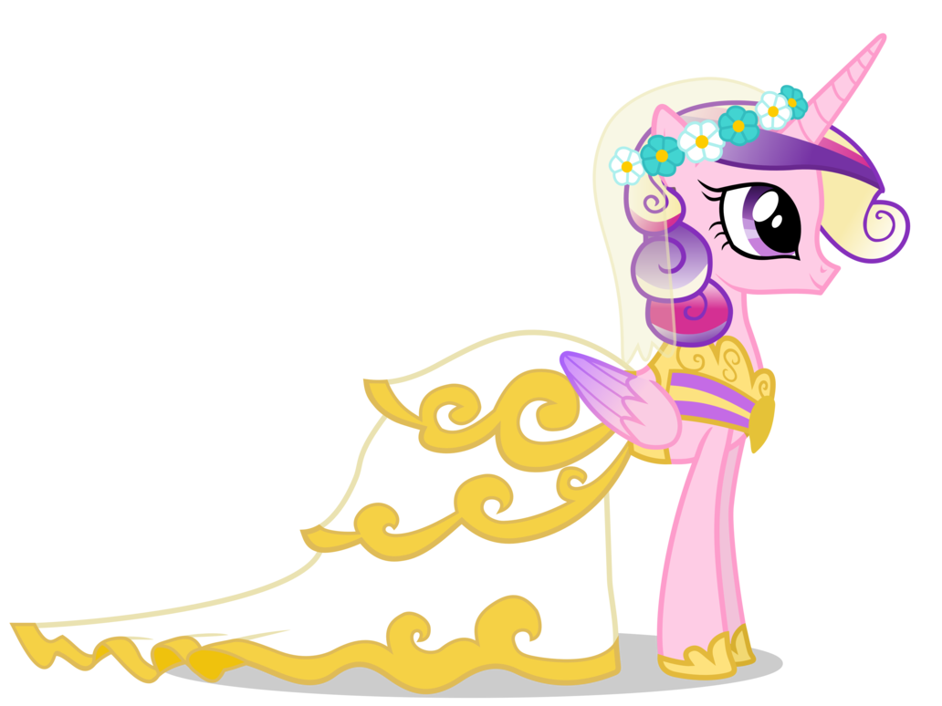 Princess cadance in her wedding veil and dress her and shining armour make a really cute couple except this isnt actually cadance in the episode