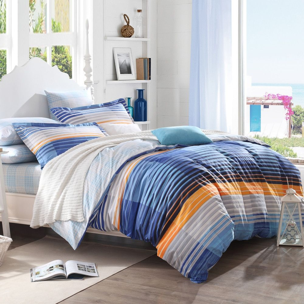 French Blue Amber Orange Grey And White Modern Pinstripe Print Traditional Simply Chic Girls And Boys Toile F Blue Bedding Sets Queen Bedding Sets Blue Bedding