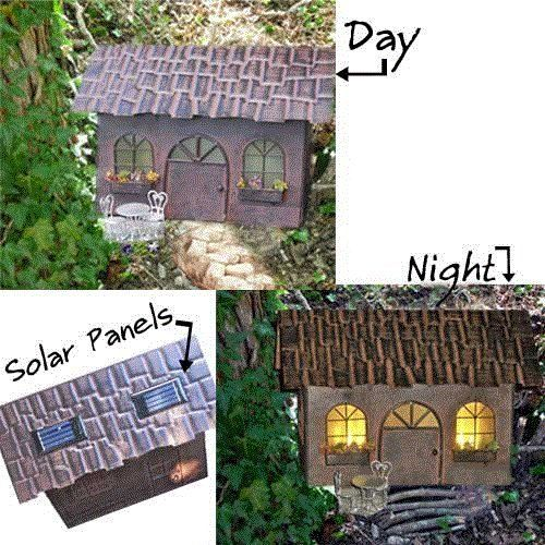 The Fiddlehead Miniature Fairy Garden Solar Fairy House   Maybe I Could Diy  With Mini Solar Lights | Gardens And Outdoor Rooms | Pinterest | Solar Fairy  ...