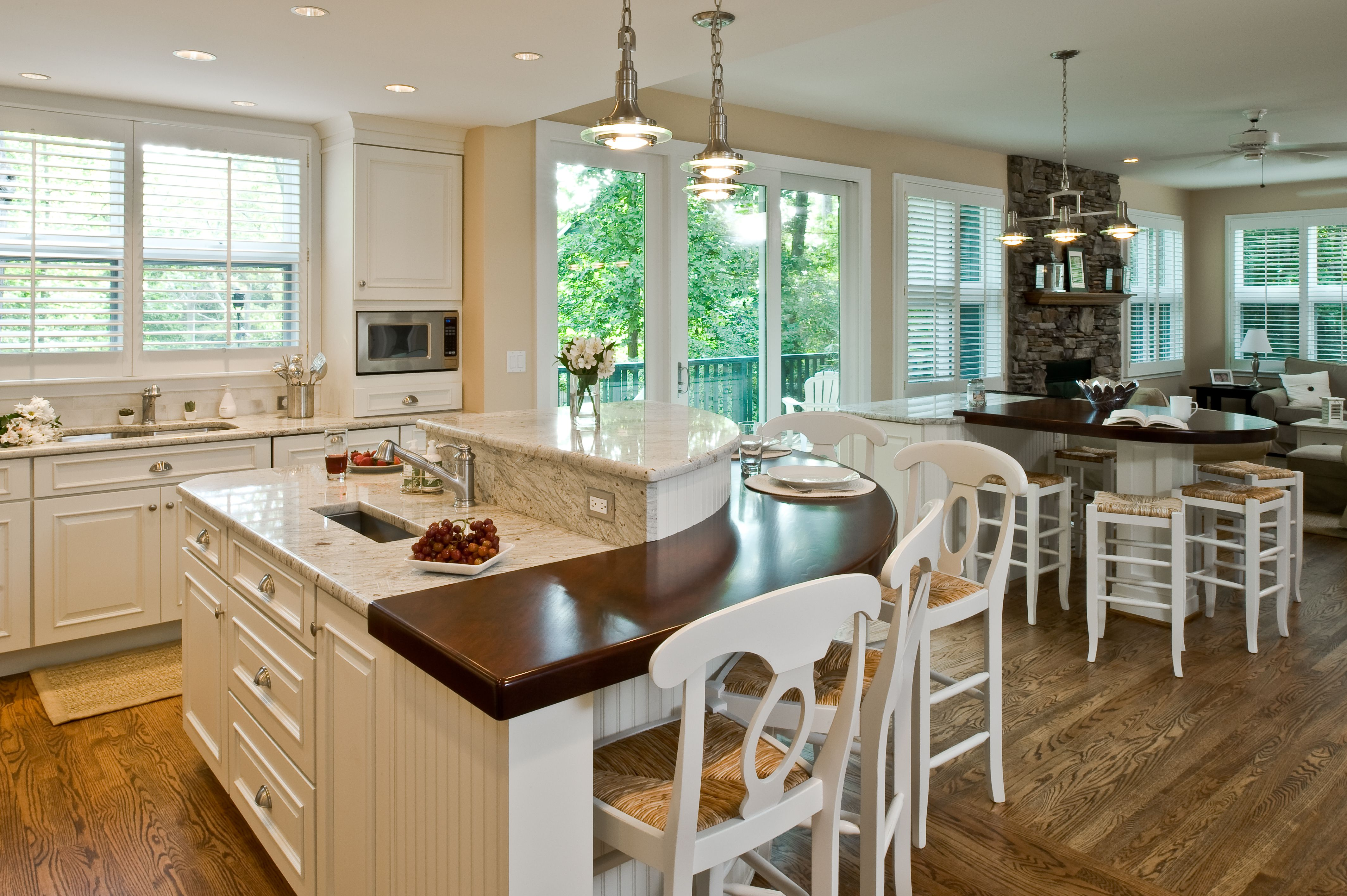 Traditional kitchen double island; Rounded wood top