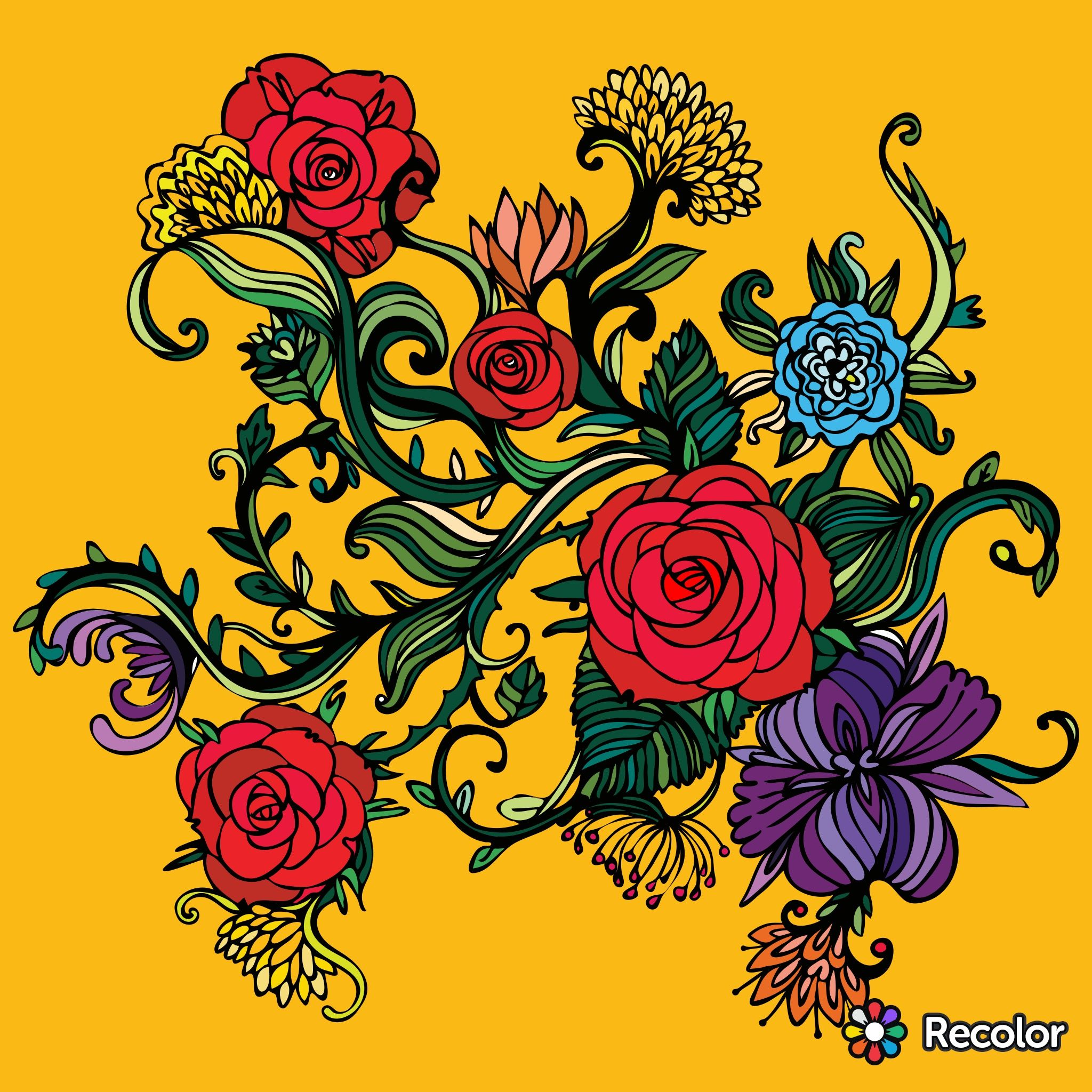Check Out The Recolor App Adult Coloring Pages Adult Coloring