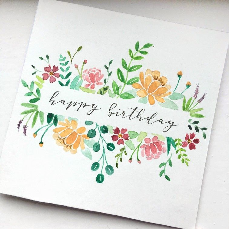 Floral Birthday Card Greeting Card Watercolor Birthday Cards Handmade Birthday Cards Birthday Cards