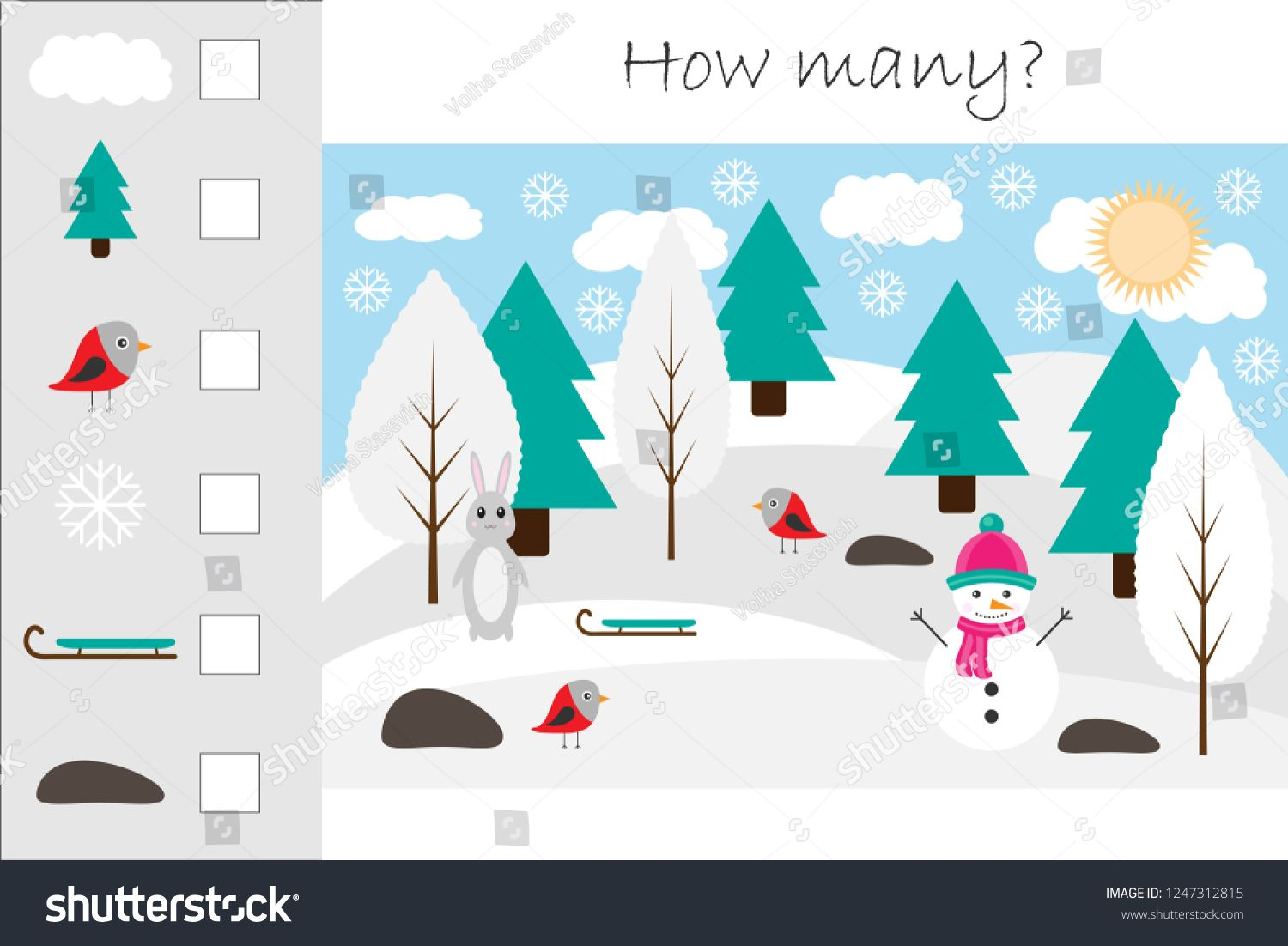 How Many Counting Game With Winter Picture For Kids