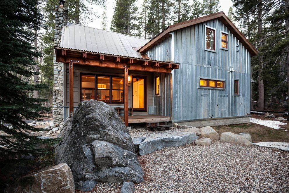 Corrugated Metal Cabin Exterior Rustic With Stacked Stone