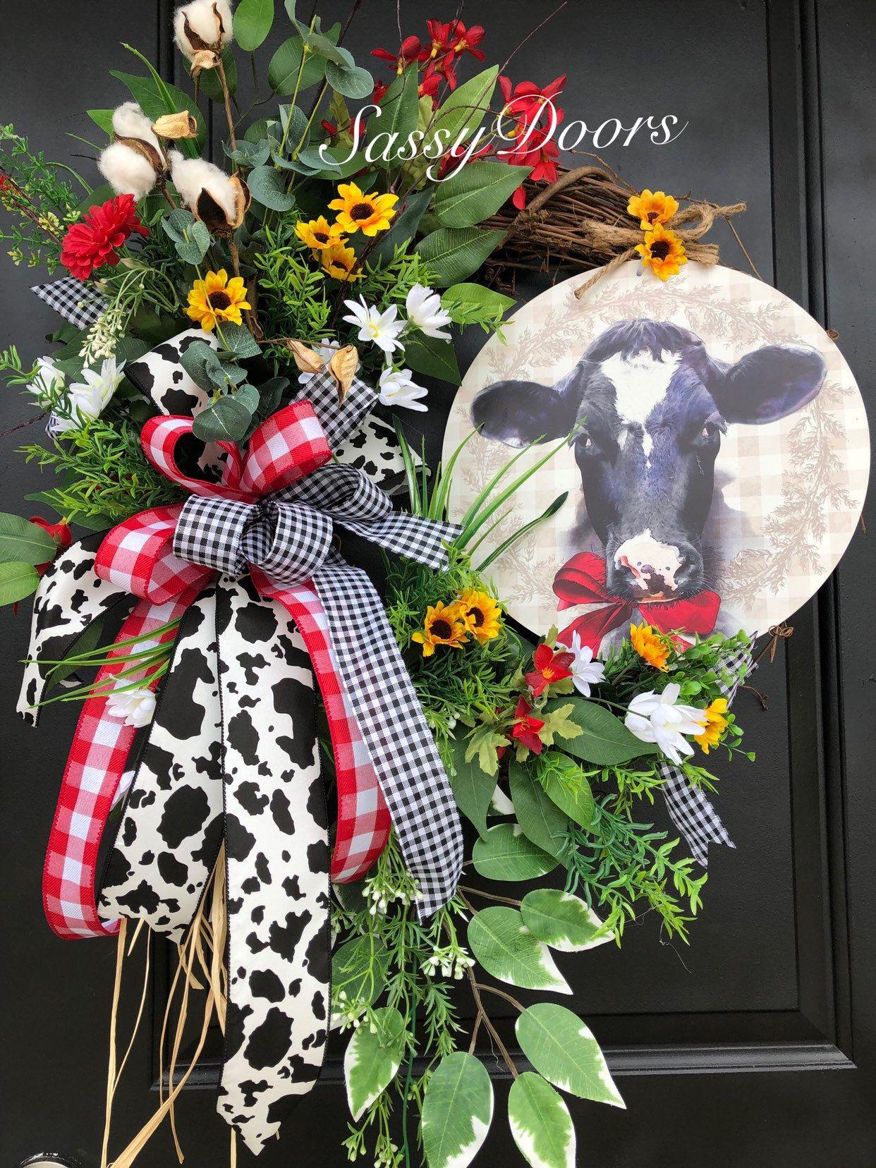 Photo of Farmhouse Wreath- Wreath For Front Door- Wreath With Cow , Everyday Wreath- Farm Wreath