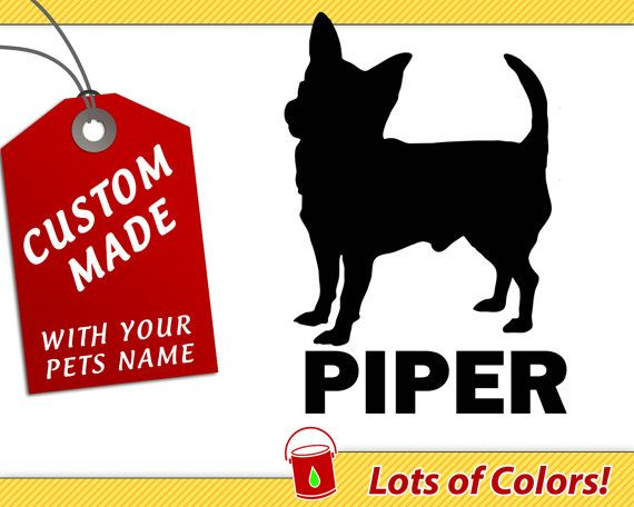 personalized chiwawa breed vinyl decal with your dogs name any color custom chihuahua sticker