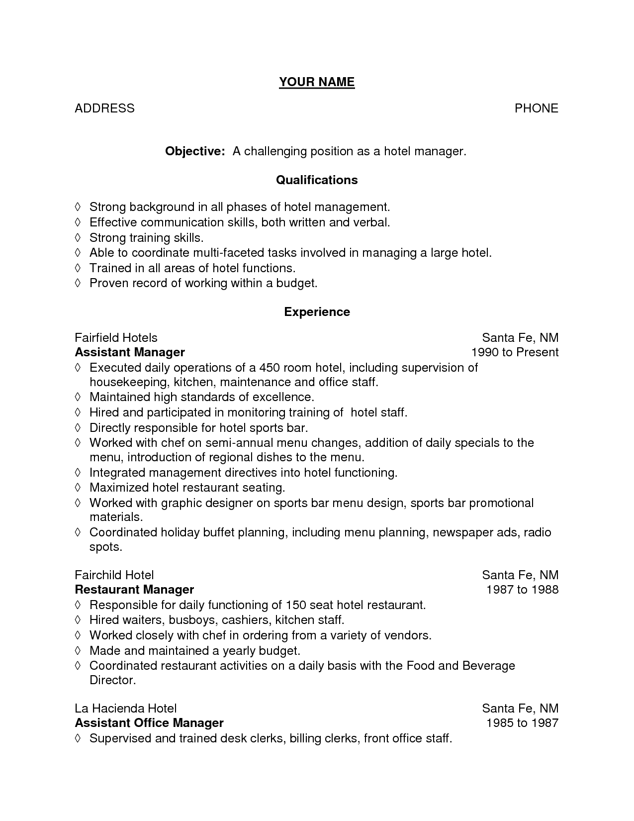 Housekeeping Resume Samples Bar Server Resume Sample Objective For Bartender Fast Food Cashier