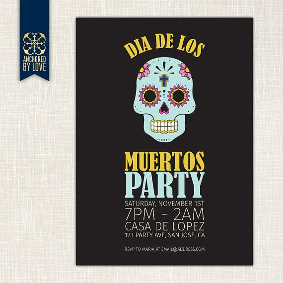 Party Invitation Day Of The Dead Diy Printable Invitation Day Of The Dead Diy Party Invitations Printable Invitations