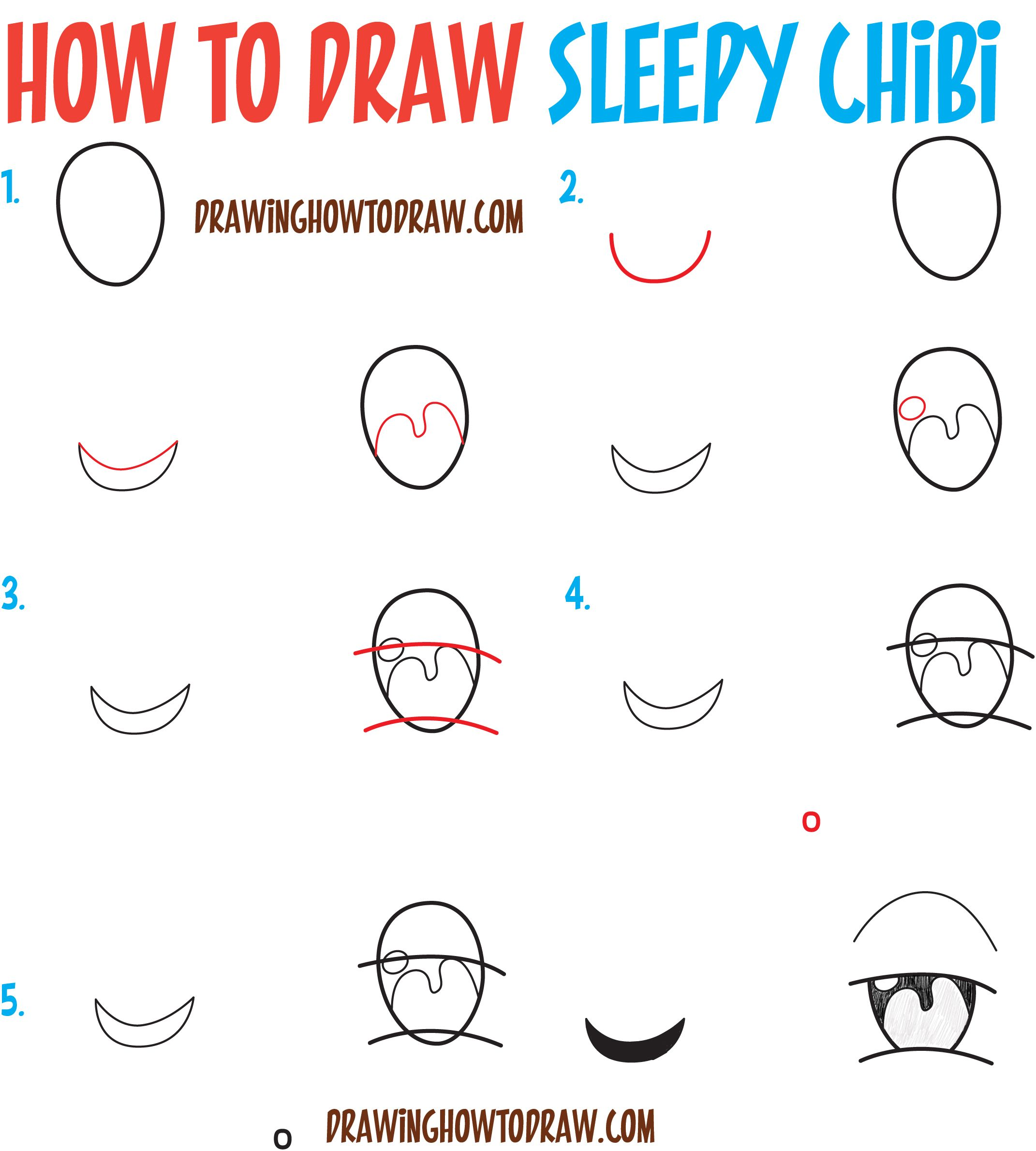 How to Draw Tired / Sleepy / Exhausted Chibi Expressions