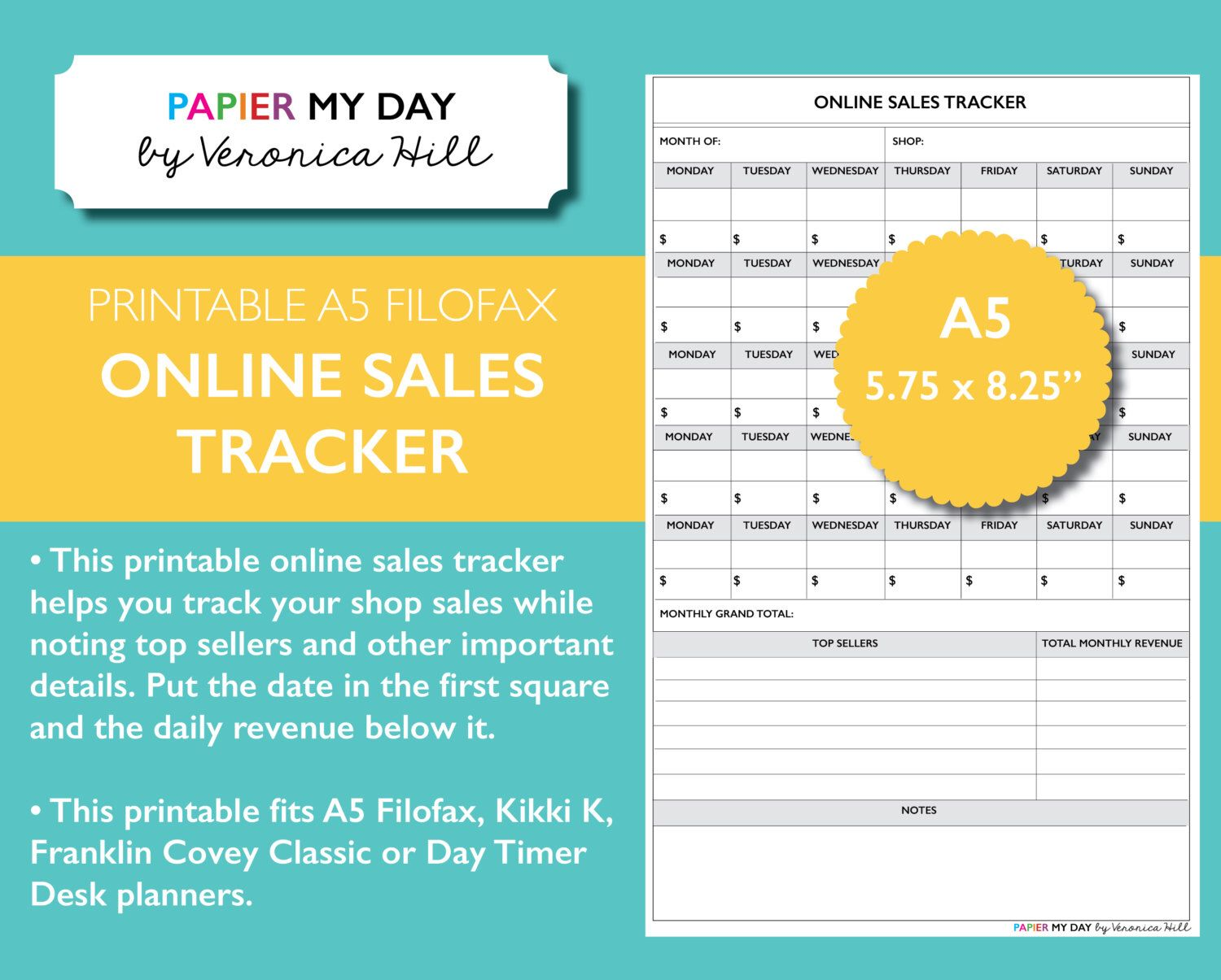 a5 filofax online sales tracker printable monthly etsy sales tracker fits kikki k largepersonal and filofax a5 planners
