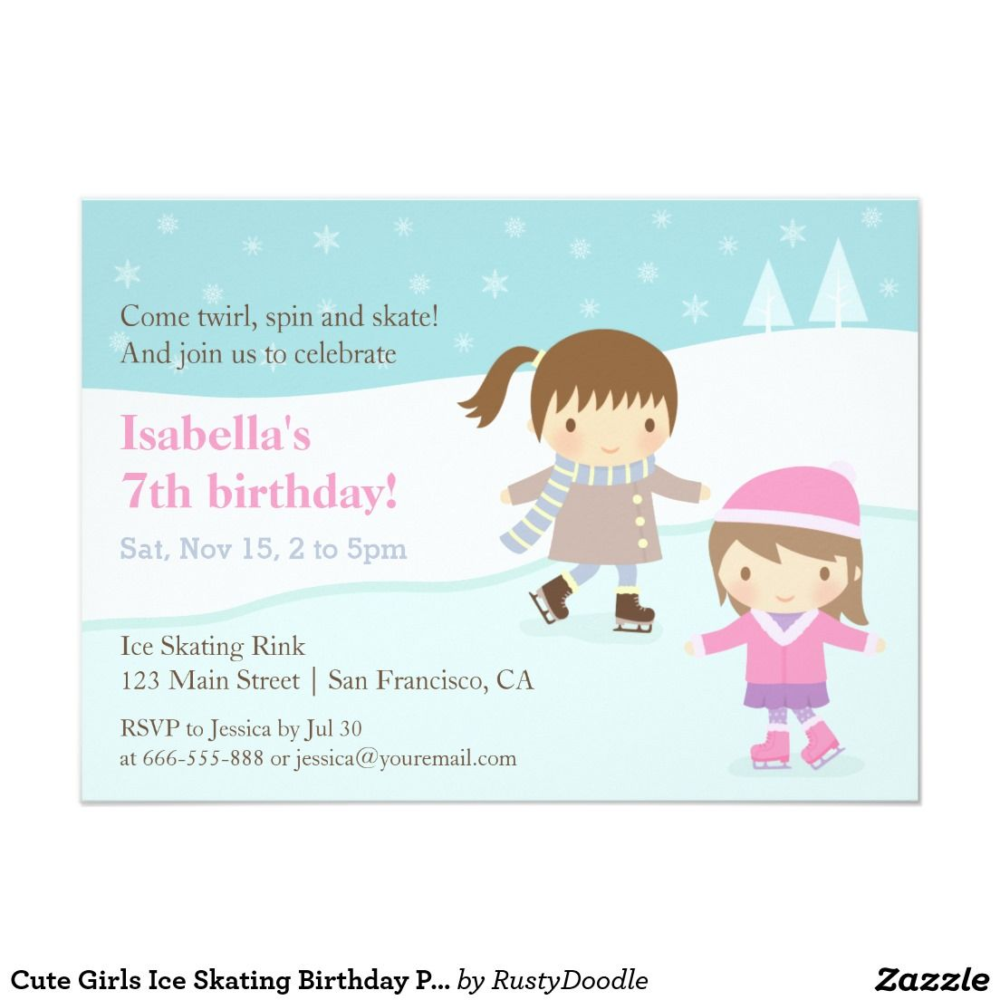 Cute girls ice skating birthday party invitations kids 2 12 cute girls ice skating birthday party invitations filmwisefo Gallery