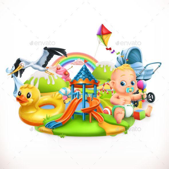 Kids And Toys  Children Playground 3d Vector Illustration