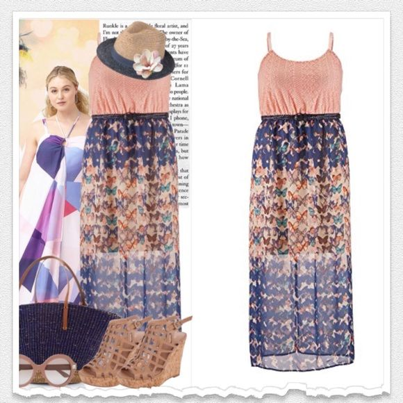 ✂️Price Cut! Maurices Maxi Dress Plus Size 1X ✨Temporary Price Cut!✨ Lightweight Chiffon Butterfly Printed Bottom Lace Top Elastic Banded Waist Maurices Dresses Maxi