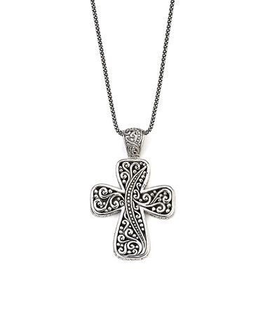 Another great find on #zulily! Sterling Silver Balinese Cross Pendant Necklace #zulilyfinds