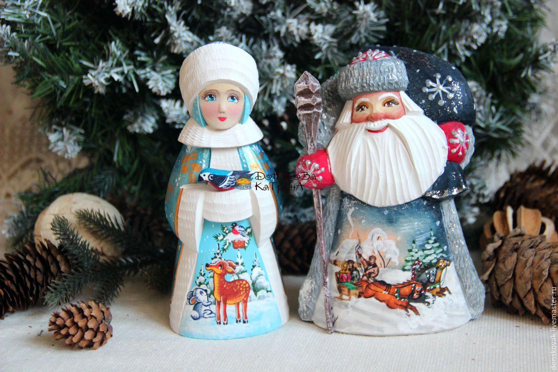дед мороз и снегурочка деревянные резные расписные