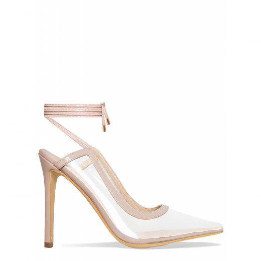 6e0a4fa92abb5e Nikki Nude Clear Lace Up Court Shoes   Simmi Shoes