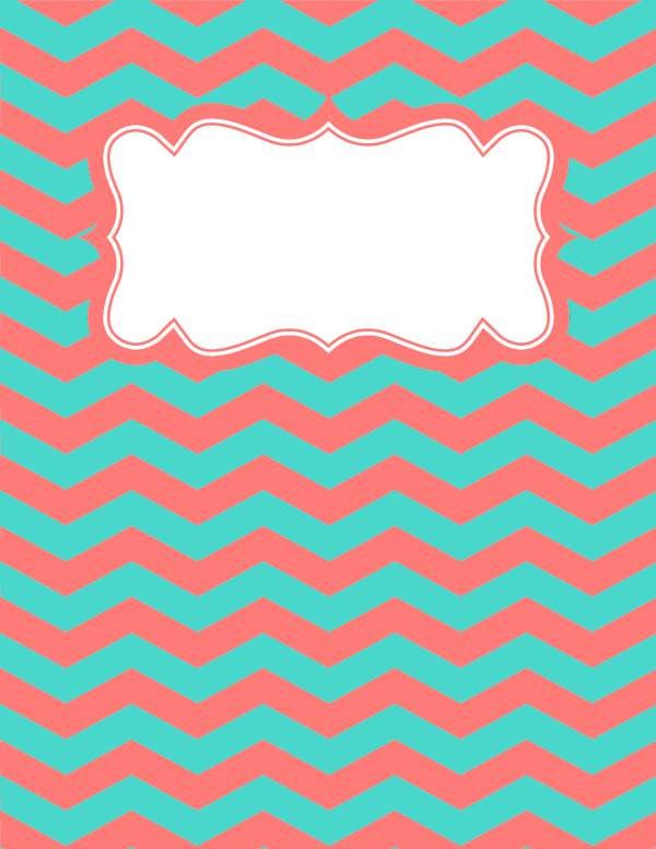 free printable coral and teal chevron binder cover