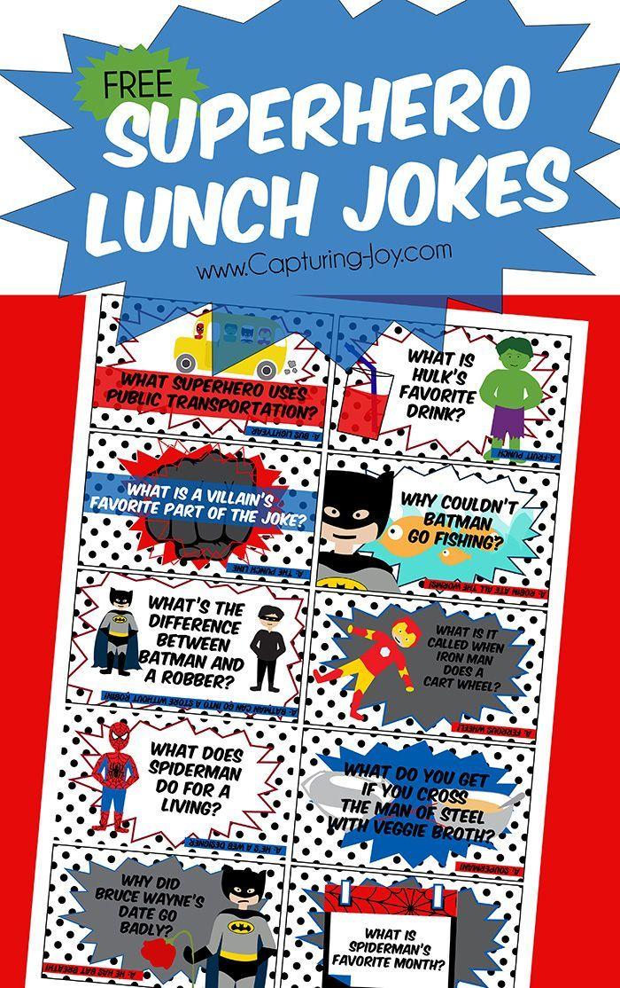 Superhero Lunch Jokes Jokes for kids, Lunch box notes