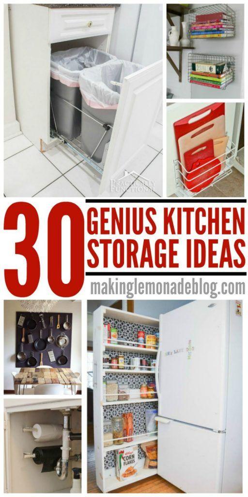 30 Genius Kitchen Storage Hacks + Ideas | Kitchen storage ...