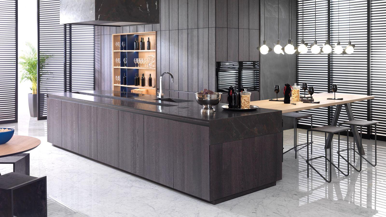Dark Kitchens Innovation Brightness And Originality Porcelanosa Trendbook Decorating Above Kitchen Cabinets Dark Kitchen Bathroom Design Trends