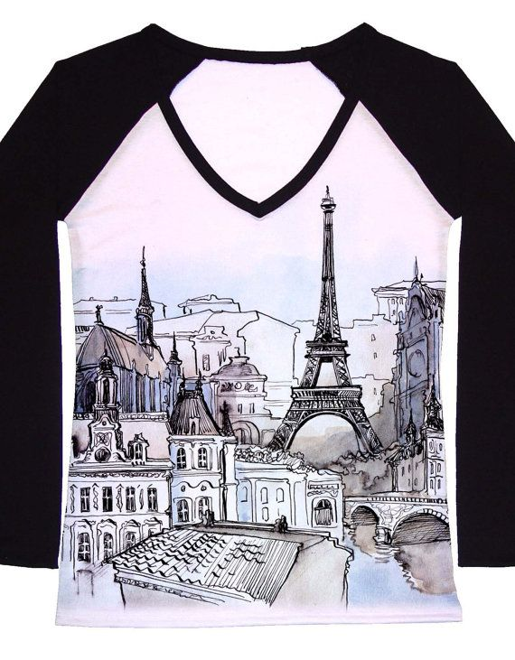 eee6b212f07c19 Love this shirt  ) Woman PLUS SIZE Paris Eiffel tower scenery romantic by  hellominky