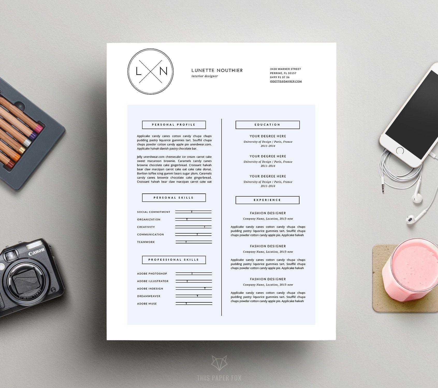 Minimal Resume Template Cv Design By This Paper Fox On Creativemarket Resume Template Cv Cvtemplate Minimal Resume Template Resume Template Cv Design
